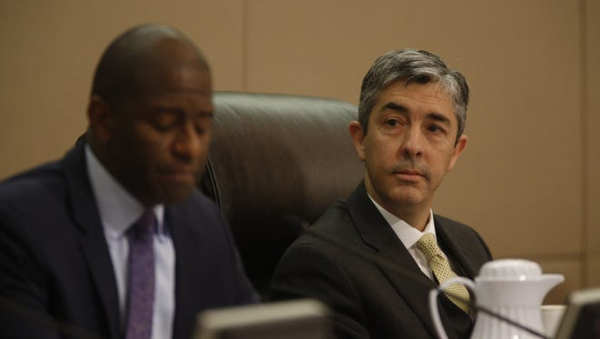 Interim City Manager Reese Goad listens as commissioners discuss appointing a new interim city manager during Wednesday's City Commission meeting at City Hall.