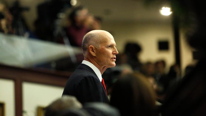 Governor Rick Scott gives his State of the State Address in the house chambers Tuesday, the opening day of the 2018 legislative session.