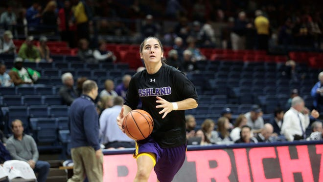 Crestview grad Renee Stimpert, a sophomore guard for the defending national champion Ashland University Eagles, leads the Great Lakes Intercollegiate Athletic Conference in assists.