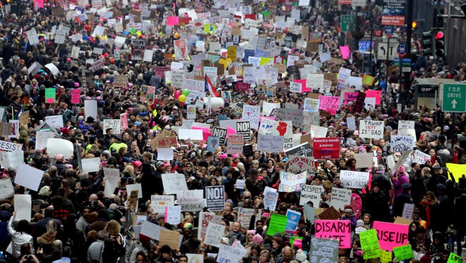 Thousands marched along 42nd St. in New York City during the Women's March Jan. 21, 2017. The march started near the United Nations and ended in front of Trump Tower on 5th Ave.