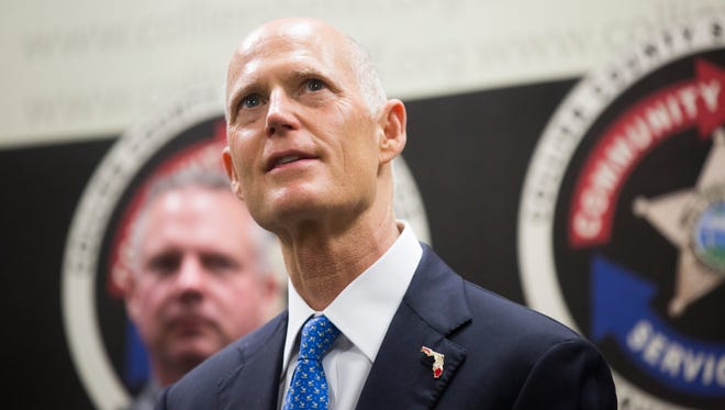 Governor Rick Scott speaks during an appearance at the Naples Police Department in January, 2018. Scott has projected himself as a law-and-order champion during his nearly eight years in office.