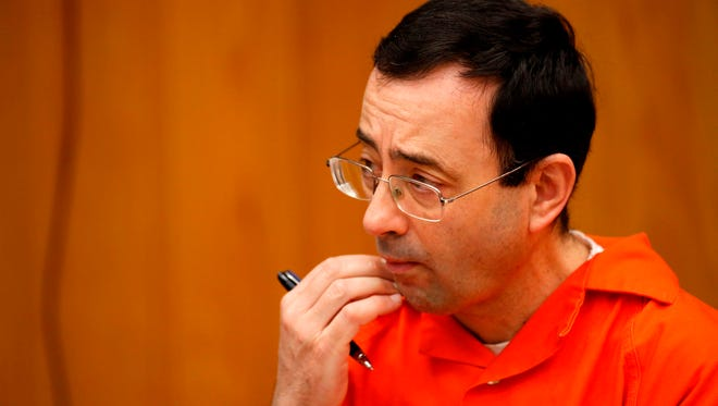 Former MSU and USA Gymnastics doctor Larry Nassar during the sentencing phase in Eaton, County Circuit Court  in Charlotte, MI on January 31, 2018 .