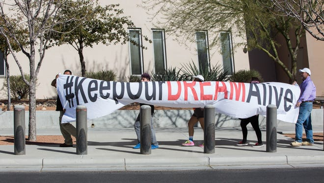 Members of Border Dreamers and Youth Alliance and families of the Border Network for Human Rights, marched from Sen. Martin Heinrich's office to Rep. Steve Pearce's office, Monday Feb. 5, 2018. The two groups were demonstrating in support of a clean DREAM Act and against the Trump administration's proposed border wall.