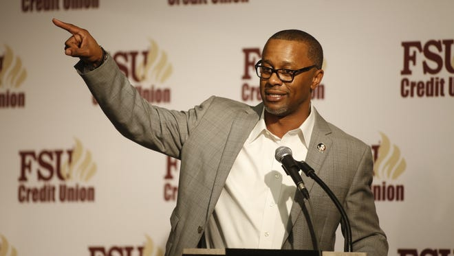 Florida State's new Head Football Coach Willie Taggart introduces his coaching staff and some of the Noles' new recruits during the signing day War Party held Wednesday at the Antique Car Museum.