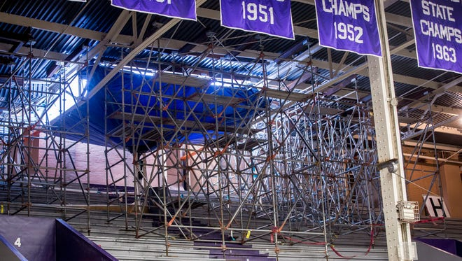 Scafolding holds up tarps for drainage and support damaged support beams in the west portion of the Muncie Central Fieldhouse ceiling on Feb. 12. Officials have yet to determine what they are going to do with the building.