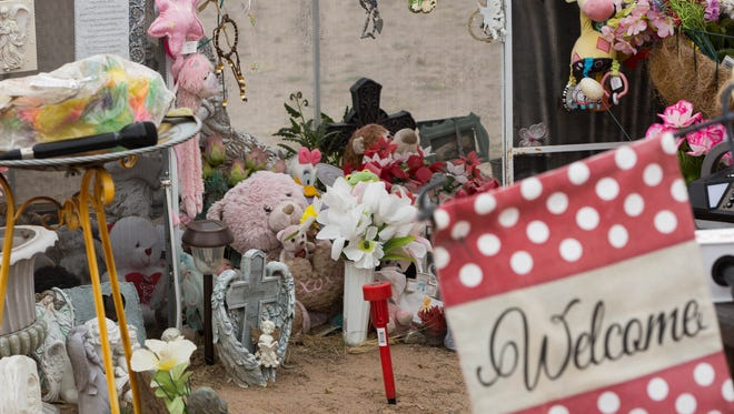 The grave of Baby Brianna on what would have been her 16th birthday. Feb. 14, 2018.  Brianna Lopez, is widely known as Baby Brianna she was pronounced dead about five months after her birth on Feb. 14, 2002, her death was the result of horrific abuse inflicted by her mother rand father Stephanie Lopez and Andy Walters and her uncle Steven Lopez.