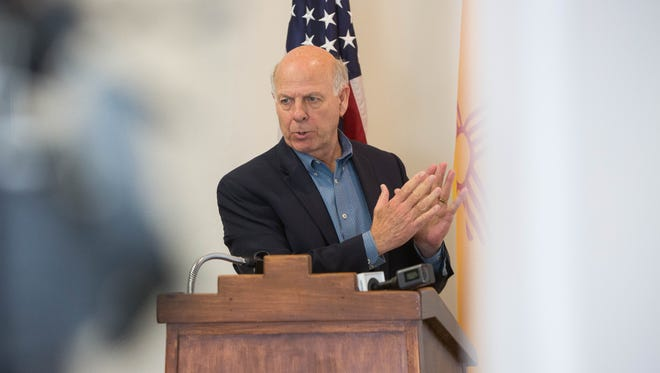 Congressman Steve Pearce,  speak at Haciendas at Grace Village about the impact of tax reform on small businesses, Monday Feb. 19, 2018. Some employees and the owner of Haciendas at Grace Village sat listening to the Congressman during the morning press conference.
