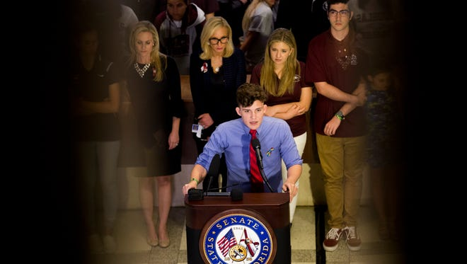 Alfonso Calderon, 16, a student at Marjory Stoneman Douglas, speaks during a news conference at The Capitol Complex on Wednesday, Feb. 21, 2018, in Tallahassee, Fla.
