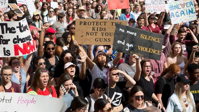 After a horrific mass shooting claimed 17 lives at Marjory Stoneman Douglas High School in Parkland, Fla. a rally was held one-week later outside the Florida State Capitol to advocate for stricter gun control and better mental health care Wednesday, Feb. 21, 2018 in Tallahassee, Fla.