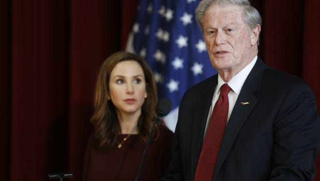 Florida State University President John Thrasher, right, and  Vice President of Student Affairs Amy Hecht share the podium during a news conference at the Westcott Building Monday. FSU's administration is partially lifting a ban on Greek Life instated in November 2017 after a fraternity pledge died during an off-campus party. Fraternities and sororities will now be allowed to engage in recruiting and philanthropic activities while the ban on socials and alcohol remain in place.
