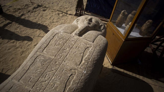 A sarcophagus that was discovered is displayed at the site of an ancient Egyptian cemetery, in Minya province, Egypt, on Feb. 24, 2018.