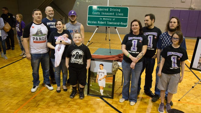 The local community came out to support the unveiling ceremony for a Memorial Sign in Honor of Nicolas Townsend-Read at the Richland Gym in Portland on Saturday, Feb. 24.