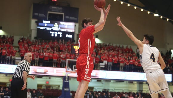 Tappan Zee's Aidan Cunney (5) puts up a shot in front