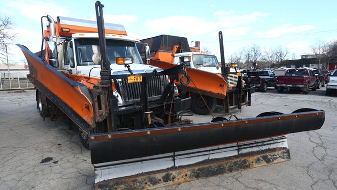 Town of Poughkeepsie Highway Department plow trucks stand at the ready ahead of Wednesday's anticipated snow storm on March 6, 2018.