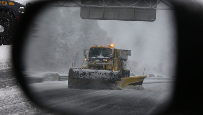 3:26 p.m. A snow plow removes snow on I-287 Eastbound in Spring Valley as a nor'easter moves into the area March 7, 2018.
