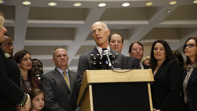 Governor Rick Scott makes his remarks in the Capitol rotunda Sunday after the annual sine die ritual that marks the end of the 2018 legislative session.
