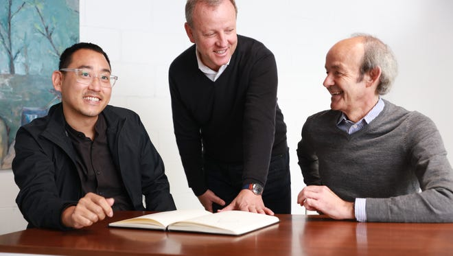 Founders of EVelozcity, all former members of auto tech start-up Faraday Future, include designer Richard Kim, left,, CEO Stefan Krause and tech lead Ulrich Kranz.
