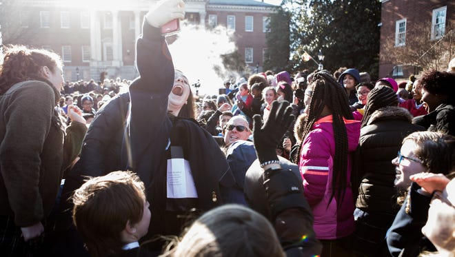 Students take a selfie with Gov. Larry Hogan at a nonpublic school advocacy rally in Annapolis on Tuesday, March 13, 2018. Hogan annually earmarks funding to provide vouchers and scholarships to private schools.