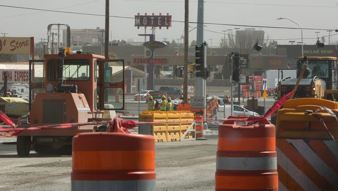 Construction continues on the North Main, Three Crosses intersection. Thursday March 15, 2018.