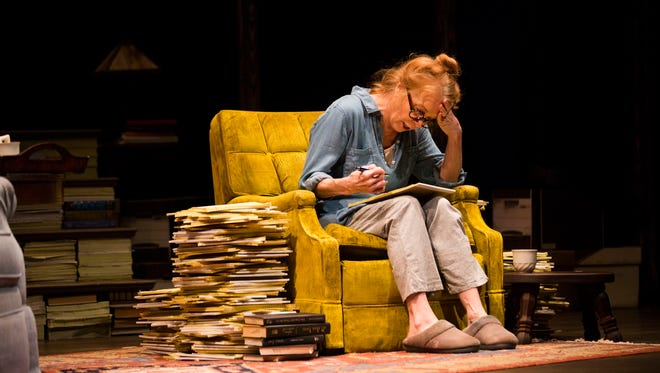 """Amy Van Nostrand rehearses a scene as Agnes Keller during the first dress rehearsal for Gulfshore Playhouse's """"Miss Keller Has No Second Book""""on Tuesday, March 27, 2018 at the Norris Center in Downtown Naples."""