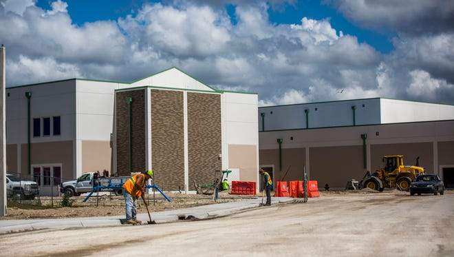 Construction of the new Bonita Springs High School on Wednesday, April 4, 2018.