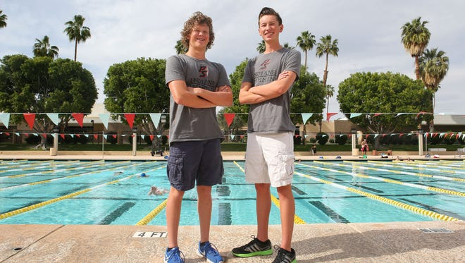 Palm Springs High School swimmers Christian, right, and Cody Meyer.