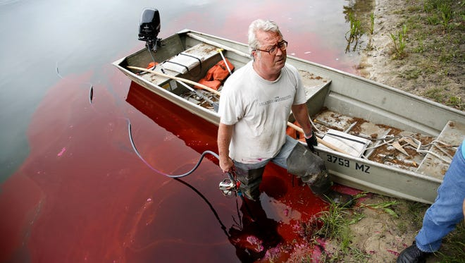 Wakulla Springs Alliance Chair Sean McGlynn pumps more than 100 pounds of non-toxic dye into a sink hole on Upper Lake Lafayette Monday as part of a study that seeks to better understand the connections between local lakes and the spring system. His group will measure traces of this dye at Wakulla Springs and other springs connected through a system of caverns in the aquifer.