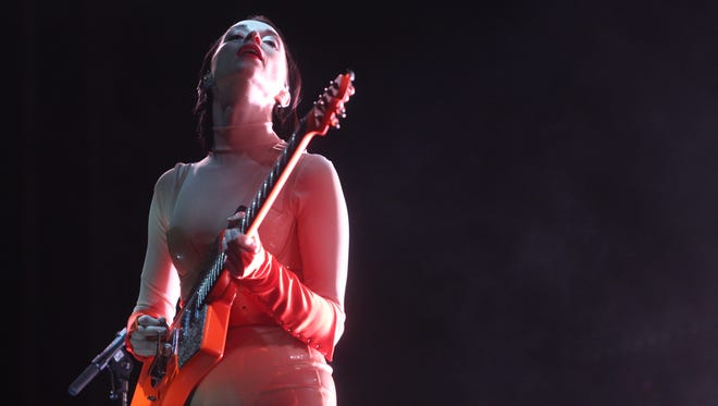St. Vincent perform on the Outdoors Stage at the Coachella Valley Music and Arts Festival in Indio, California during the first weekend of the two weekend music festival. Friday April 13, 2018.