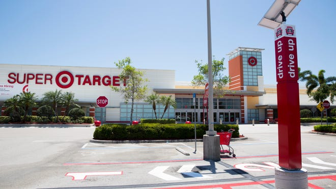 Starting this past Monday the Super Target along Immokalee Road and just east of I-75 will offer drive up service for customers. The service allows customers to shop for their items online and have those items ready to go and delivered to your car when you arrive. Seen here, the four parking spaces for drive up service Wednesday, April 18, 2018 in Naples.