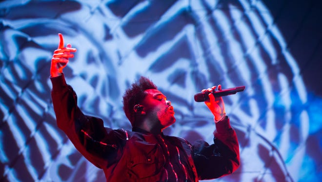 The Weeknd performs on the Coachella stage during weekend two of the 2018 Coachella Valley Music and Arts Festival in Indio, Califonria. Friday 20, 2018.