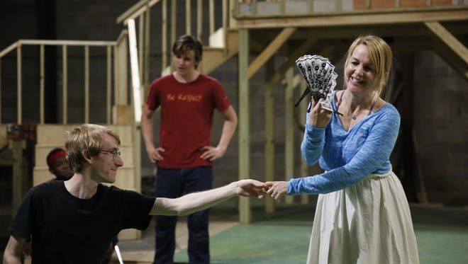 """The Southern Shakespeare Company rehearses for its upcoming production of """"Romeo & Juliet."""" Renee O'Connor and her son Miles Muir, center, guest star in the production."""
