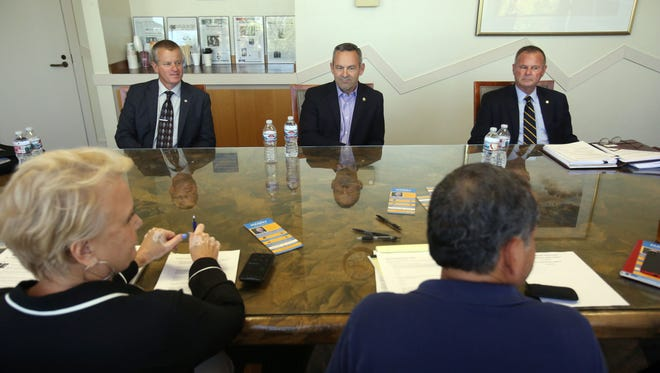 Riverside County Sheriff candidates Dave Brown, Chad Bianco and Stan Sniff speak to the Desert Sun editorial board on Wednesday, April 25, 2018 in Palm Springs.