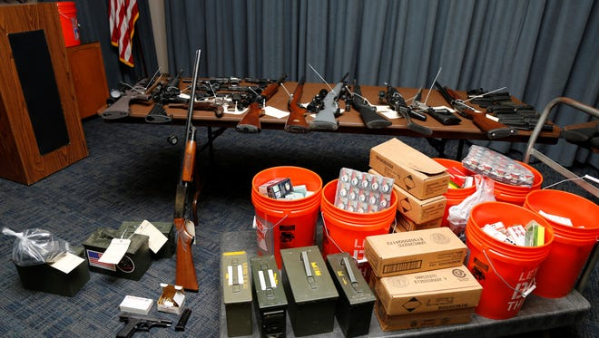 Firearms seized in Ventura County during a two-day operation held by the California Department of Justice. The seizure involved people prohibited from possessing firearms.