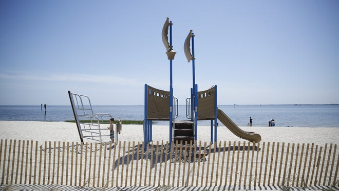 Shell Point beach got a makeover thanks in part to funding from BP for Gulf renovation projects. The restored beach, pictured Monday, features shade pavilions, volleyball courts, and a playscape.