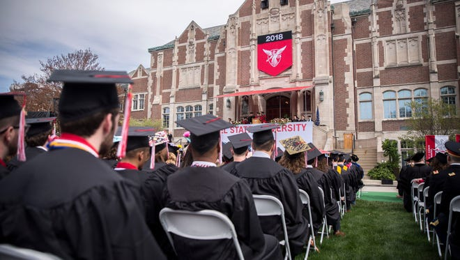 Hundreds of Ball State University Students participate in the commencement ceremony on the lawn of the Arts Terrace on Ball State's campus. The commencement saw 3,300 graduates for Spring 2018.