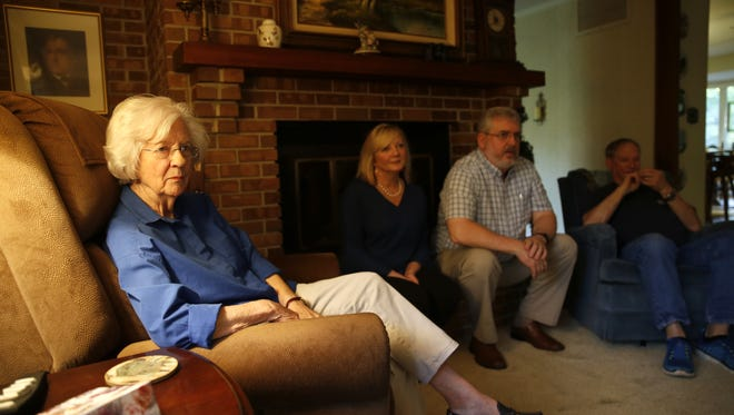 Betty Eppes, left, and members of her family gather at her home in Ox Bottom Wednesday, May 2, 2018.