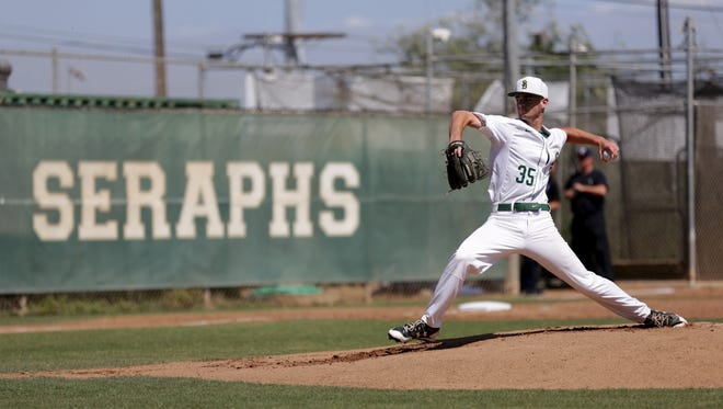 St. Bonaventure ace Jake Saum steps toward the plate before delivering a pitch during Thursday's first-round playoff game against visiting Simi Valley.