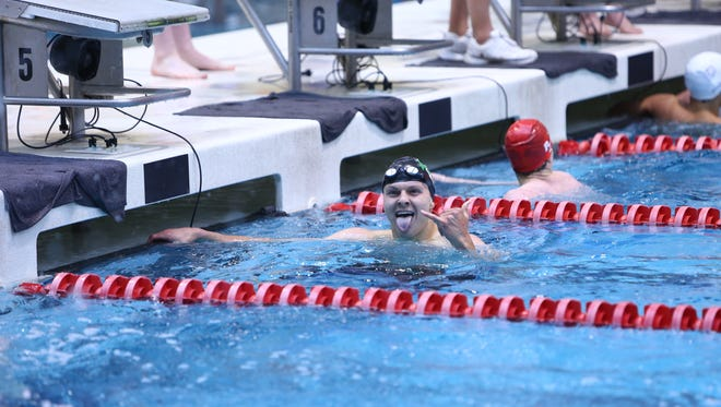 Fossil Ridge senior Danny Kovac reacts after winning the 200-yard individual medley in a state record time of 1:46.27 during Saturday's state meet in Thornton.