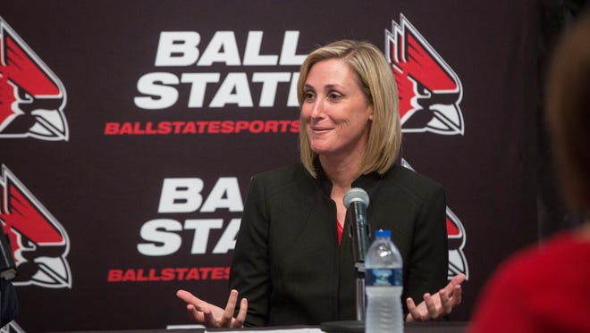 Beth Goetz, Ball State University's new athletic director, talks with the crowd gathered at her announcement on June 21 inside the Alumni Center. Goetz will start her new position on June 18.