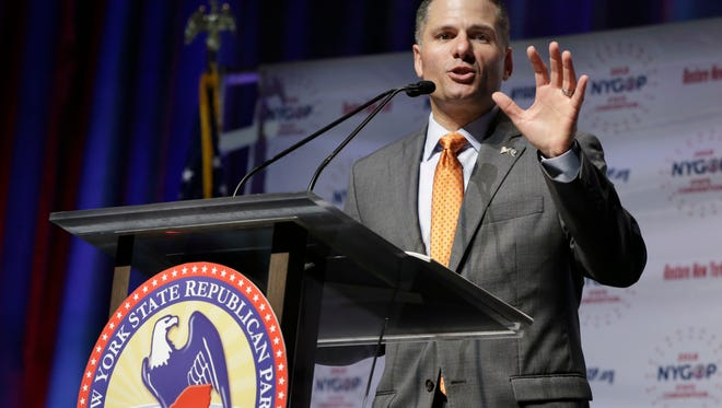 Dutchess County Executive Marc Molinaro delivers his designation acceptance speech as the Republican candidate for governor at the New York state Republican Convention, in New York, Wednesday, May 23, 2018. Delegates endorsed Molinaro Wednesday at the GOP's state convention in Manhattan. He had faced a challenge for the nomination from state Sen. John DeFrancisco of Syracuse. (AP Photo/Richard Drew)