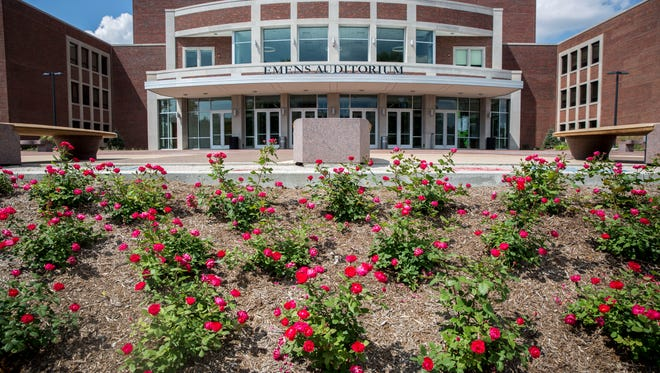 The recent $1.6 million makeover of the front lawn at Emens Auditorium includes dozens of flowers that add color to the recently renovated area. Color from tulips, daffodils and flowering shrubs are supplemented by an estimated 50,000 annuals plantedper year in spring, summer and fall.