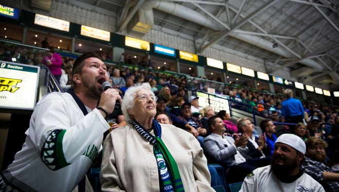 Fans cheer during a break in the game during game 4 of the Kelly Cup Finals against the Colorado Eagles at Germain Arena on June 1. Game 7 sold out quickly.