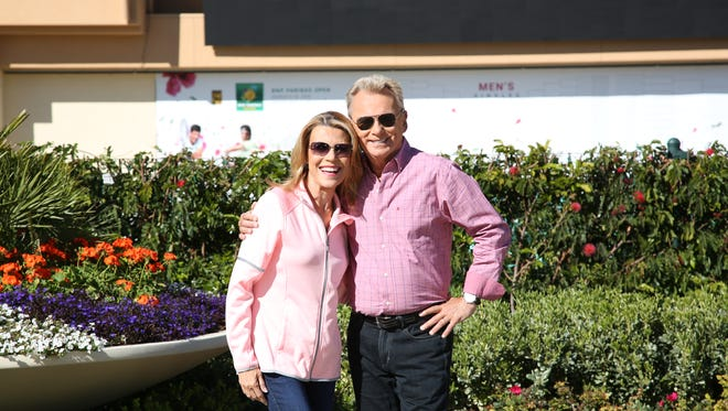 """""""Wheel of Fortune"""" show host Pat Sajak and letter turner Vanna White were at the BNP Paribas Open in Indian Wells in Marchto tape segments for the show."""
