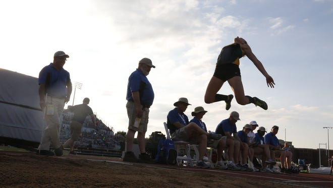 Wittenberg-Birnamwood's Maddy Pietz competes in the Division 2 girls  long jump on Friday during the  WIAA state track and field meet in La Crosse.