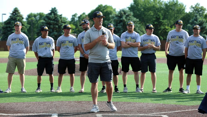 Augustana Vikings head coach Tim Huber speaks to the crowd about his 2018 NCAA DII National Championship team.