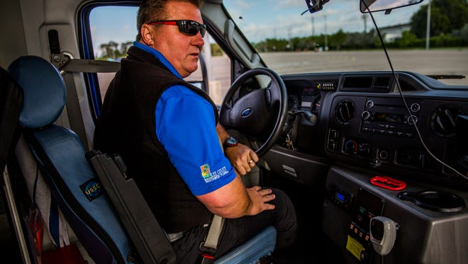 Chris Cowles practices an obstacle course at LeeTran headquarters in Fort Myers on Thursday, June 7, 2018. Cowles won the state competition for transit drivers four years in a row. He will be competing in the national competition on Saturday, June 9, in Pittsburgh, Pennsylvania.