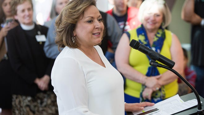 Susana Martinez, Governor of New Mexico, speaking about the cancer treatments her parents received at Memorial Medical Center, Monday June 11, 2018, at the ribbon cutting of the expansion of the Memorial Cancer Center building.
