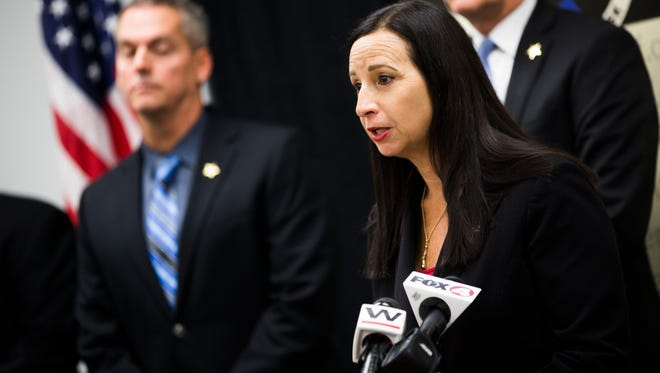 Chief Assistant State Attorney Amira Fox talks about Operation Ice Breaker during a press conference on Friday, June 22, 2018 at the Collier County Sheriff's Office Aviation Bureau. The Collier County Sheriff's Office and other law enforcement partners ended a yearlong methamphetamine trafficking investigation Thursday.