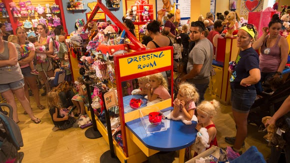 Build-A-Bear Workshop offered customers a chance to buy any bear for the price of their child's age on Thursday, July 12, 2018. Customers wait in line, some for even over seven hours, at Coconut Point in Estero, Florida.