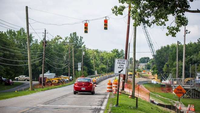 Construction work is underway on the Tiger Drive bridge which goes over the White River in Yorktown. The city along with emergency officials have released a plan that limits the traffic to northbound only during school arrival and dismissals during the school year.